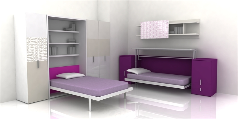 Bedroom: Cool Modern Style Gray Purple Interior Teenage Bedroom ...