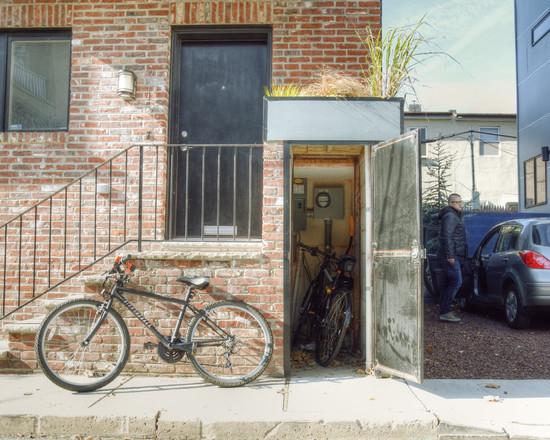 Shed beside garage doors
