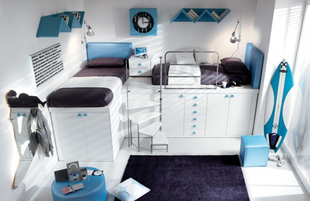 Stunning teenage bedroom ideas in white contemporary interior black carpet white closet door glass window unique wall shelving design 630x408