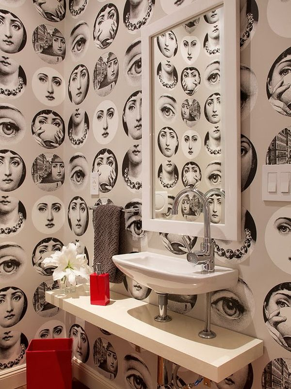 Designs for Small Bathrooms » Unique Modern Faces Wallpaper Bathroom ...