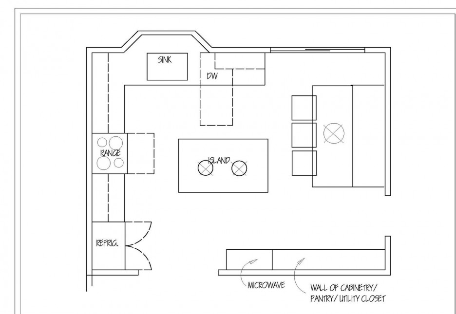 Chic Small Kitchen Layout With Detail Floor Plan Idea